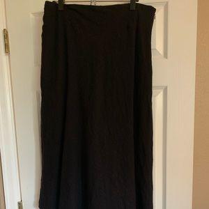 Ankle length black wool skirt